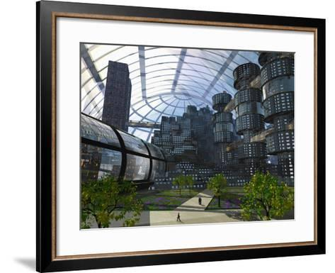 Illustration of an Enclosed City of the Future-Carol & Mike Werner-Framed Art Print