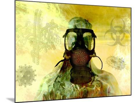 Illustration of Risk, Showing a Person in Hazardous Materials Suit and Face Mask-Carol & Mike Werner-Mounted Photographic Print