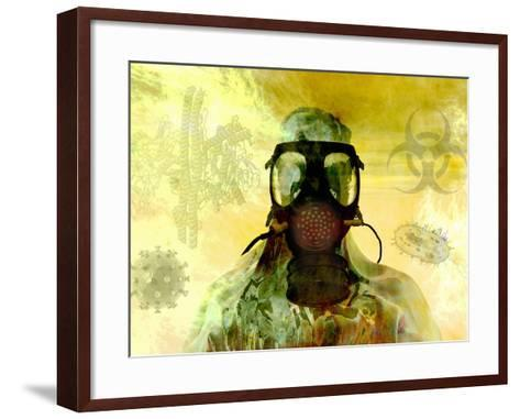 Illustration of Risk, Showing a Person in Hazardous Materials Suit and Face Mask-Carol & Mike Werner-Framed Art Print