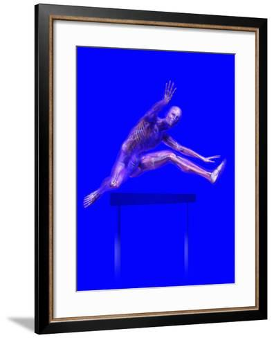 Biomedical Illustration of a Man Jumping over a Hurdle, Showing Musculature and Skeleton-Carol & Mike Werner-Framed Art Print