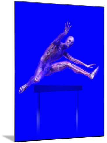 Biomedical Illustration of a Man Jumping over a Hurdle, Showing Musculature and Skeleton-Carol & Mike Werner-Mounted Photographic Print