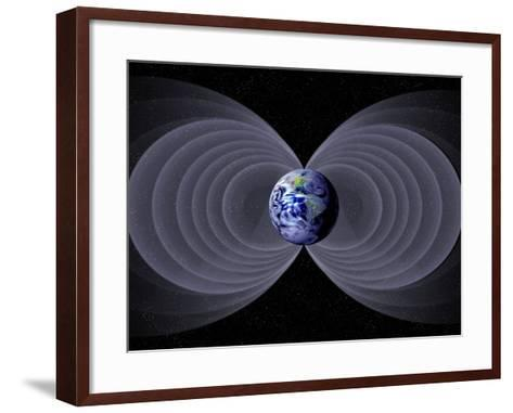 Conceptual Illustration of the Earth's Magnetic Field-Carol & Mike Werner-Framed Art Print
