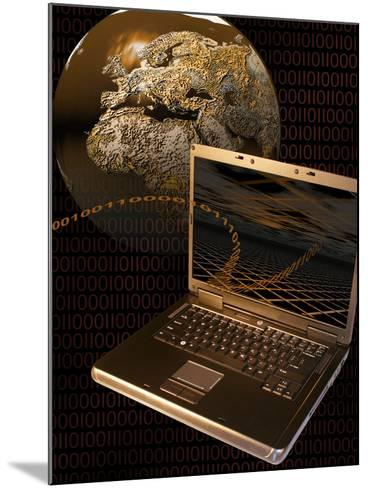 Worldwide Digital Communication Illustrated with a Notebook Computer, a Globe, and Binary Code-Carol & Mike Werner-Mounted Photographic Print
