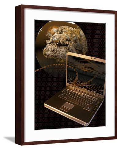 Worldwide Digital Communication Illustrated with a Notebook Computer, a Globe, and Binary Code-Carol & Mike Werner-Framed Art Print