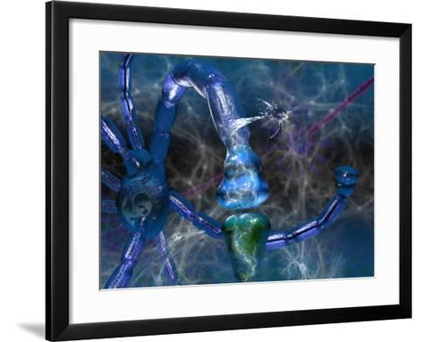 Nervous System Showing Neurons, Neurotransmitter Activity at a Synapse, Glial Cells-Carol & Mike Werner-Framed Art Print