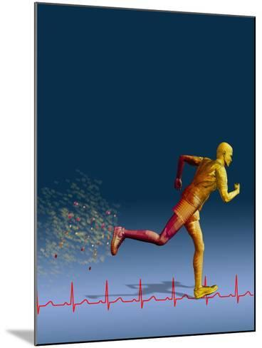 Biomedical Illustration of a Wireframe Runner with an Ekg-Carol & Mike Werner-Mounted Photographic Print