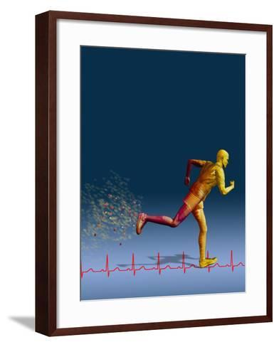 Biomedical Illustration of a Wireframe Runner with an Ekg-Carol & Mike Werner-Framed Art Print