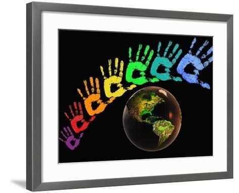 Rainbow-Colored Hands with the Earth-Carol & Mike Werner-Framed Art Print
