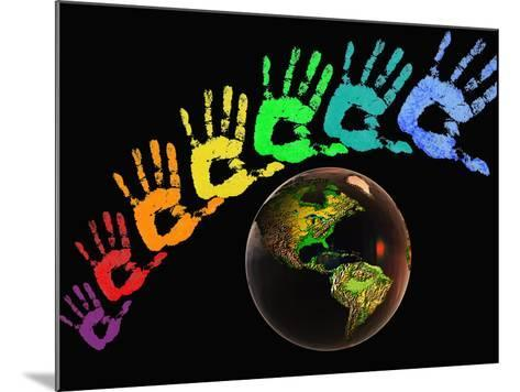 Rainbow-Colored Hands with the Earth-Carol & Mike Werner-Mounted Photographic Print