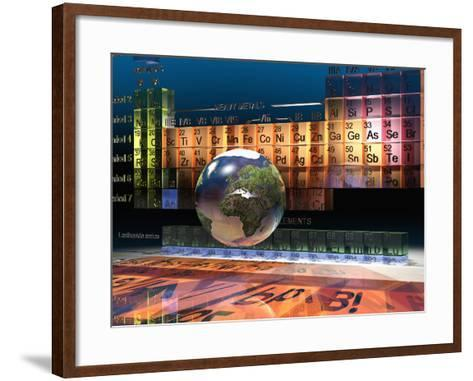 Illustration of the Building Blocks of the Earth, the Periodic Table of the Elements, and a Globe-Carol & Mike Werner-Framed Art Print