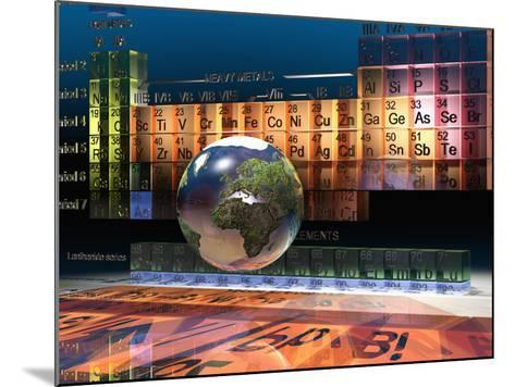 Illustration of the Building Blocks of the Earth, the Periodic Table of the Elements, and a Globe-Carol & Mike Werner-Mounted Photographic Print