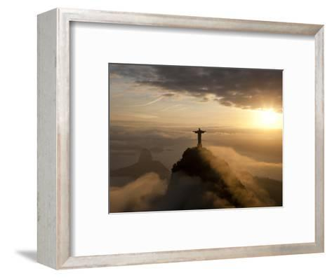 Statue of Jesus, known as Cristo Redentor (Christ the Redeemer), on Corcovado Mountain in Rio De Ja-Peter Adams-Framed Art Print