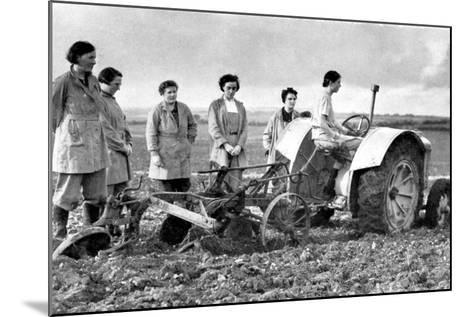 British Girls of the Women's Land Army Learning to Plough with a Tractor, World War II, 1939-1945--Mounted Photographic Print