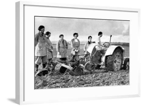 British Girls of the Women's Land Army Learning to Plough with a Tractor, World War II, 1939-1945--Framed Art Print