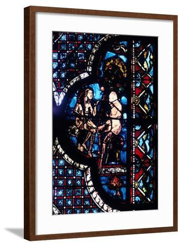 Adam and Eve, Stained Glass, Chartres Cathedral, France, 1205-1215--Framed Art Print