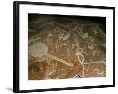 Carved Petroglyph' (People, Deers, Elks, Birds, Boots and Circle), 4th-3rd Millenium BC--Framed Art Print