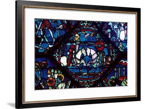 Combat Between Roland and King Marsile, Stained Glass, Chartres Cathedral, France, 1194-1260--Framed Art Print