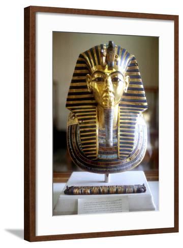 Gold and Lapis Lazuli Funerary Mask of Tutankamun, King of Egypt, Mid 14th Century BC--Framed Art Print