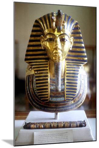 Gold and Lapis Lazuli Funerary Mask of Tutankamun, King of Egypt, Mid 14th Century BC--Mounted Photographic Print