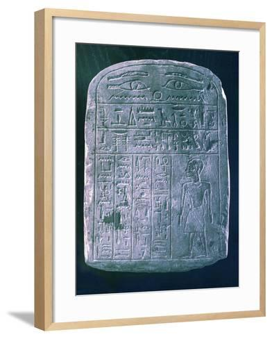 Votive Stele Dedicated by His Brother to a Man from Ermant, Near Thebes, Ancient Egypt--Framed Art Print
