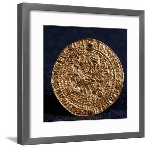 Coin (Korabelni) of Tsar Ivan III (Averse: Blossom Cros), 1471-1490--Framed Art Print