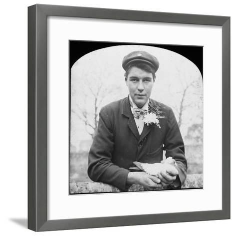 E Hack Holding a Pigeon, Late 19th or Early 20th Century--Framed Art Print