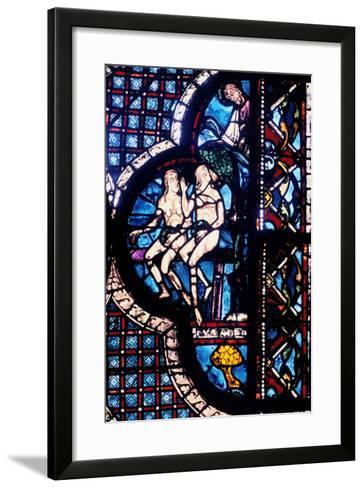 God Confronts Adam and Eve, Stained Glass, Chartres Cathedral, France, 1205-1215--Framed Art Print