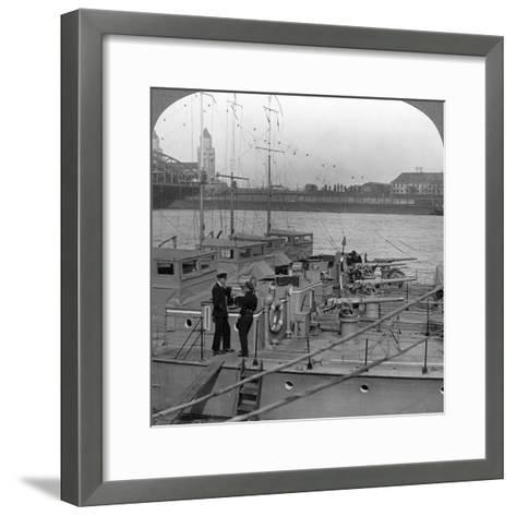 Flotilla of Motor Boats on the Rhine, C1918-1919--Framed Art Print