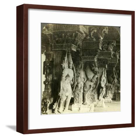 Pillars of a Hindu Temple, Madurai, India, C1900s-Underwood & Underwood-Framed Art Print