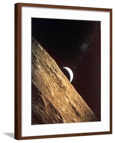 Earthrise Seen from Surface of the Moon, Apollo Mission, 1969--Framed Art Print