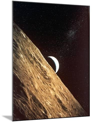 Earthrise Seen from Surface of the Moon, Apollo Mission, 1969--Mounted Photographic Print