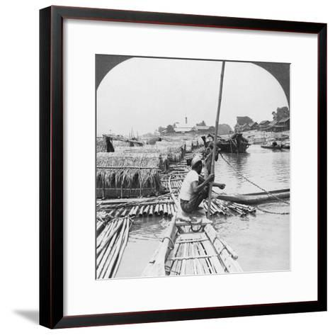 Rafts on the Irrawaddy River, Mandalay, Burma, 1908--Framed Art Print