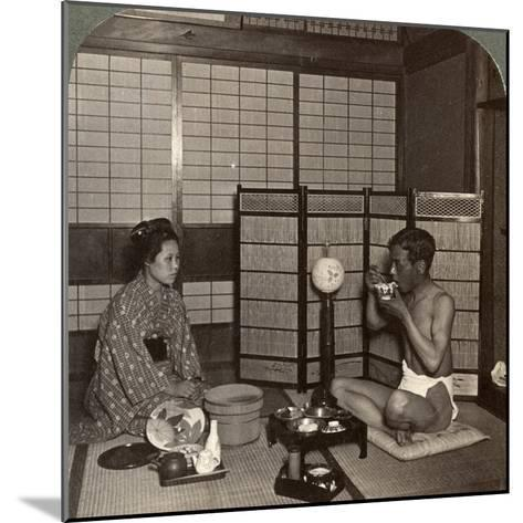 Summer Evening Meal at a Hotel, Hiroshima, Japan, 1904-Underwood & Underwood-Mounted Photographic Print