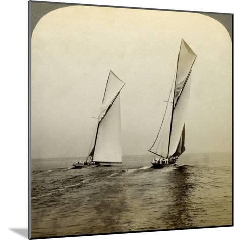 Shamrock I and Shamrock III in a Trial Race Off Sandy Hook, USA-Underwood & Underwood-Mounted Photographic Print