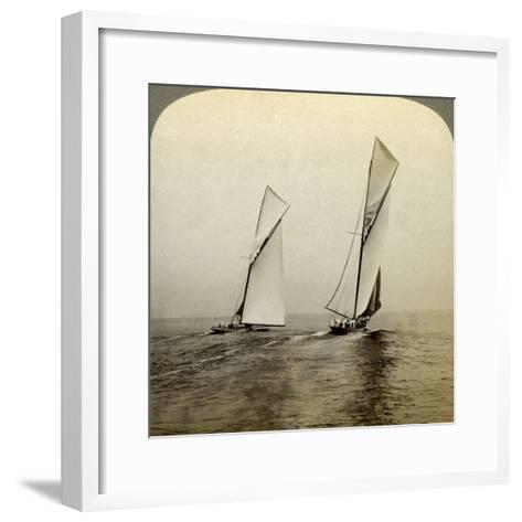 Shamrock I and Shamrock III in a Trial Race Off Sandy Hook, USA-Underwood & Underwood-Framed Art Print