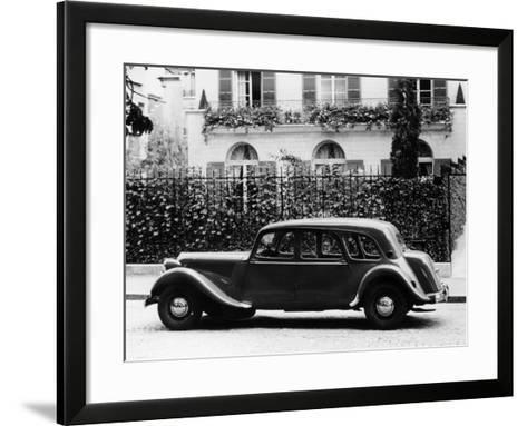 1954 Citroën 15CV Familiale Parked Outside a House--Framed Art Print