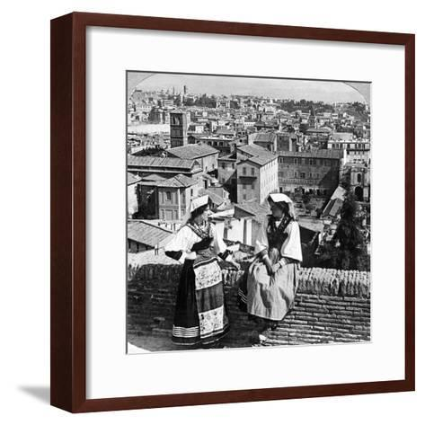 Two Women in Traditional Costume in Rome, Italy-Underwood & Underwood-Framed Art Print