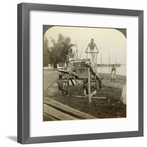 A Filipino Sawmill, Cebu, Philippines-Underwood & Underwood-Framed Art Print