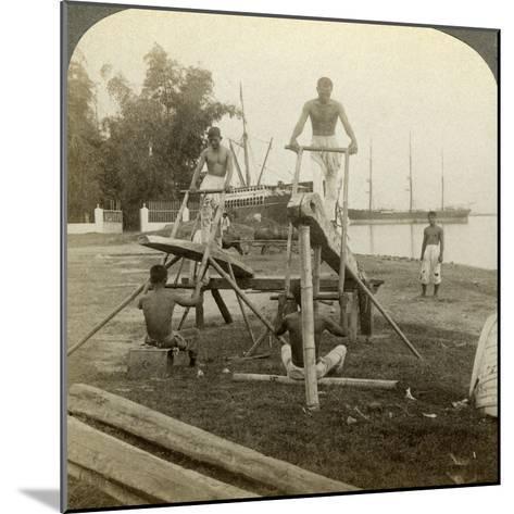 A Filipino Sawmill, Cebu, Philippines-Underwood & Underwood-Mounted Photographic Print