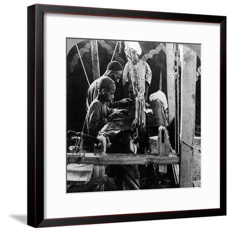 Shawl Weavers, Kashmir, India, C1900s-Underwood & Underwood-Framed Art Print