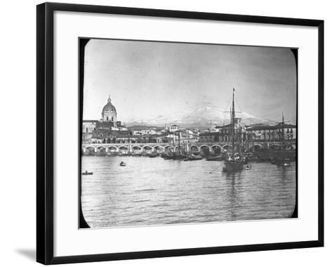 Catania and Mount Etna, Sicily, Italy, Late 19th or Early 20th Century--Framed Art Print