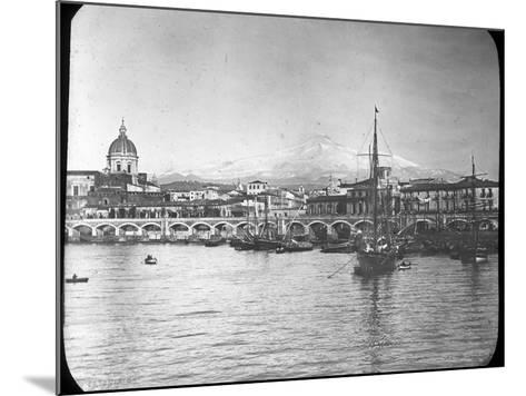 Catania and Mount Etna, Sicily, Italy, Late 19th or Early 20th Century--Mounted Photographic Print