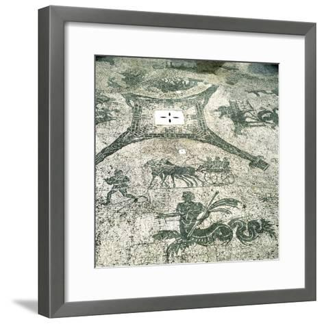 Mosaic, Carts Pulled by Mules with Travellers, Cisarii. C1st Century--Framed Art Print