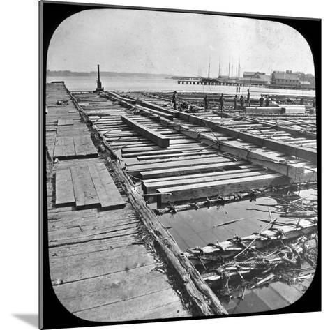 Timber Raft, Canada, Late 19th or Early 20th Century--Mounted Photographic Print