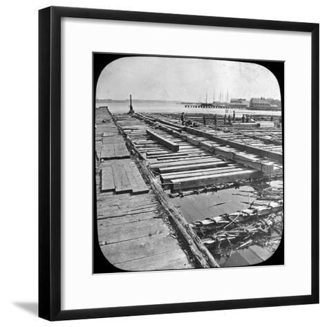 Timber Raft, Canada, Late 19th or Early 20th Century--Framed Art Print