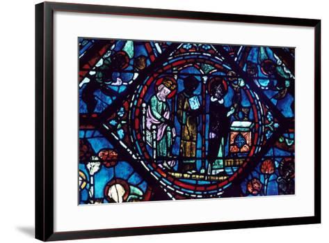 Mass of St Giles, Stained Glass, Chartres Cathedral, France, 1194-1260--Framed Art Print