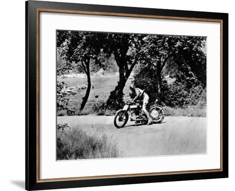 A Man on a Norton Bike Taking Part in the Belgian Grand Prix, 1924--Framed Art Print