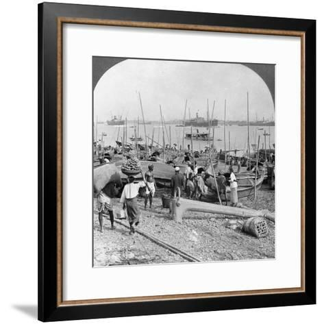 Harbour of Rangoon on the Irawaddy River, Burma, 1908--Framed Art Print