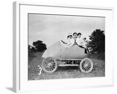 Robert Wil-De-Gose, His Mother and Nanny in the Bug, 1912--Framed Art Print