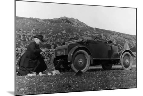 A Woman Picnicking Next to Her Air-Cooled Rover 8, C1919-C1925--Mounted Photographic Print